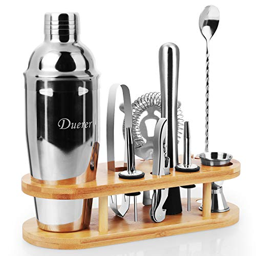 Duerer Kit de barman con soporte, set de coctelera de 11 piezas...