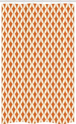 ABAKUHAUS Orange Beige Schmaler Duschvorhang, Abstrakte Verzierung, Badezimmer Deko Set aus Stoff mit Haken, 120 x 180 cm, Orange & Elfenbein