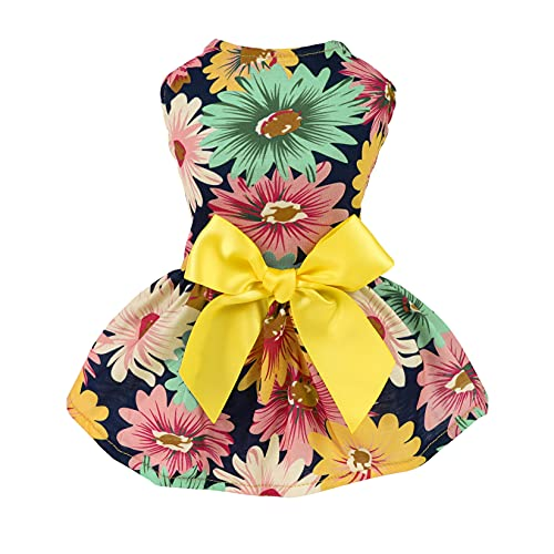 Fitwarm Pet Elegant Floral Ribbon Dog Dress Shirt Vest Sundress Clothes Apparel, Medium