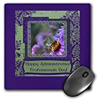 3dRose Mouse Pad Bee, English Aster, Administrative Professionals Day, Damask Frame - 8 by 8-Inches (mp_282229_1) [並行輸入品]