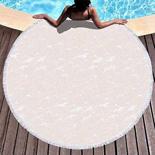 RQPPY Runde Quaste Strandtuch Beach Blanket Linien Moire Schnelltrocknend Rundtischdecke Yogamatte Picknick Matte Schal Picknick Campingdecke Badetuch 150CM