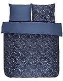 Essenza Satin-Bettwäsche Mirre, Farbe Blue 135x200cm+80x80 / 100% Baumwoll-Bettwäsche mit Reißverschluss / hochwertige Bezüge mit tollem Design