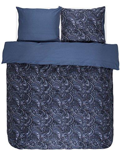 Essenza Mirre, satijnen beddengoed, kleur blauw/100% katoenen beddengoed met ritssluiting, hoogwaardige overtrekken met een leuk design
