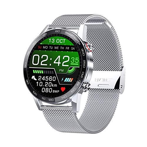 YNLRY Reloj inteligente P16 Ecg para hombre 360 x 360 de alta resolución TFT IP68 impermeable para Android IOS Phone Relojes deportivos (color: acero plateado)