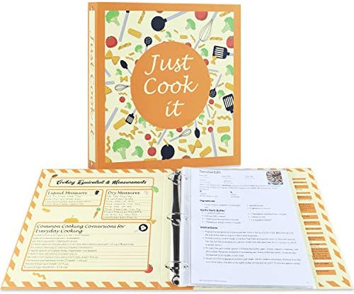 Soligt Full Page Recipe Binder Kit with 30 Page Protectors 12 Color Dividers and 24 Labels 11 product image