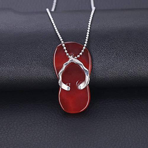 Collares Pendientes De Piedra,Elegante Colgante De Ágata Roja Con Forma De Zapatilla,...