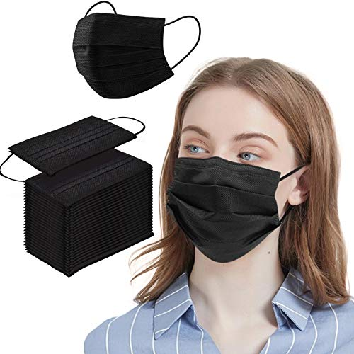 50 Pcs Black Disposable Face Shield Filter Protection Breathable Anti-Spittle