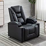 EBELLO Breathable Leather Gel Electric Power Recliner&Headrest, Home Theater Chair with Cup Holder&Storage (Black)