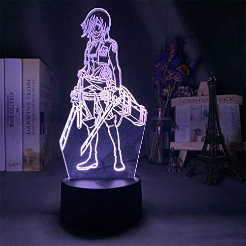 Attack on Titan 3D Luz nocturna LED de ilusión óptica lámpara de 16 colores cambiantes lámpara de escritorio para niños Navidad cumpleaños decoración del hogar