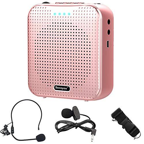 Becoyou Amplificador de voz, Amplificador de voz Portatil Recargable de 2200 mAh con Micrófono Altavoz Portatil para Profesores, Guía Turístico