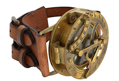 Gusti Steampunk Leder - Dennis Uhr Sonnenuhr Lederarmband Accessoires Herren Vintage Braun Leder