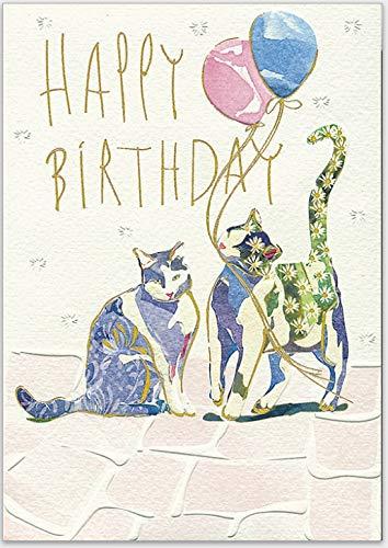 Elegante Glückwunschkarte zum Geburtstag, für Sie und Ihn - hochwertige Grußkarte von Turnowsky zum Aufklappen mit Umschlag mit zwei Katzen als Motiv
