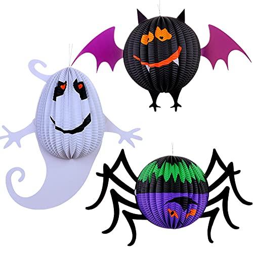 Miss-shop Lanterna di Halloween,Lanterne di Carta 3 PCS LED Lanterna per Le Lanterne della Decorazione di Halloween Impostate Le Lanterne dello Scheletro del Pipistrello di Zucca del Ragno
