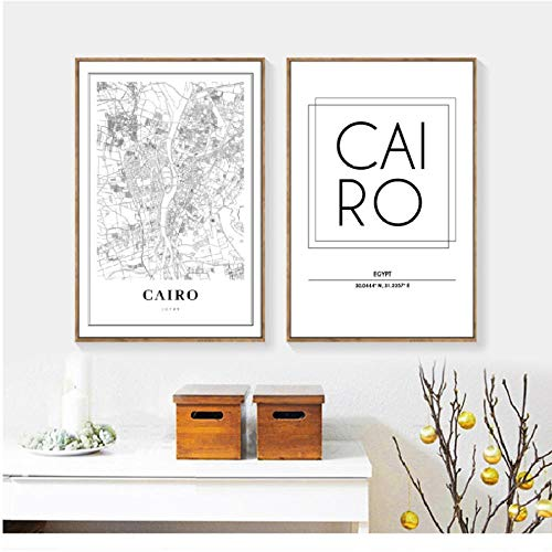 Cairo Egypt Map Wall Art Canvas Painting Modern Minimalistisch Posters en Prints Cairo City Street Road Map Wall Picture Home Decor 50x70cmx2 zonder frame