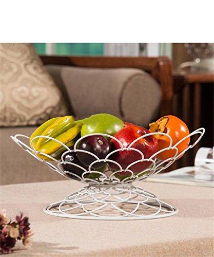 KKCFPAN Fer à repasser paniers métalliques chambre bol de fruits bol européen de fruits assiette de fruits créative plaque de cuisson de cuisine vivant (couleur : Blanc)