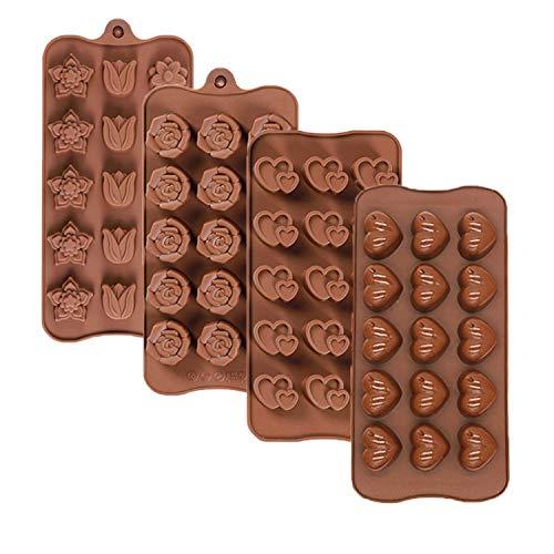 Olywee - Molde de chocolate de San Valentín, 4 piezas de 15 cavidades de silicona para chocolate, diseño de corazón, rosa y flor, para hacer chocolate, para el día de San Valentín o bodas