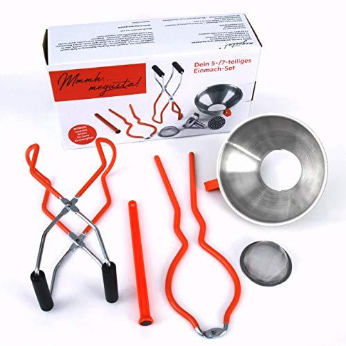 megusta!® Einmach-Set 5teilig in Geschenkbox: Trichter Edelstahl, Feinsieb, Glasheber, Öffner-Zange, Magnet für Deckel. Perfekter Küchenhelfer zum Einkochen, Umfüllen Aller Lebensmittel.