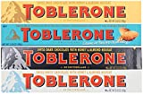 Includes one 3.52oz of each bar - 4 bars total Flavors Include: Original, Crunchy Salted Almond, Dark Chocolate, and White Chocolate Made with fine, decadent ingredients, Toblerone Swiss chocolate bars delight any chocolate lover With a distinct tria...