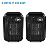 HOME_CHOICE 2 pieces 500 Watt Mini Personal Ceramic Space Heater Electric Portable Heater Quiet for Home Dorm Office Desktop with Safety Power Switch (Black, 2)