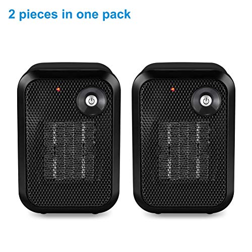 HOME_CHOICE 2 pieces 500 Watt Mini Personal Ceramic Space Heater Electric Portable Heater Quiet for Home Dorm Office Desktop with Safety Power Switch (Black, 2) Ceramic Heater Space
