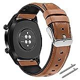 Coholl Correa Compatible con Huawei Watch GT 2/Huawei 46mm Sport/Classic/Active/Elite,Correa de Repuesto Cuero Hebilla Liberación Rápida para 22 mm cuero,Marrón