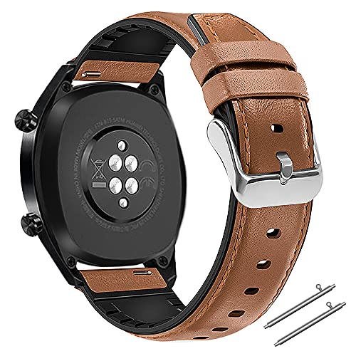 Coholl 22mm Strap Compatible with Huawei Watch GT 2 46mm / Sport / Classic / Active / Elite, Smartwatch Bracelets Replacement Leather Sport Strap for Huawei Watch 45mm Strap, Brown