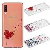 [3 Pack] Funda para Samsung Galaxy A70, Weideworld 3D Patrón Flexible Ultra Slim TPU Silicona Back Carcasa Funda para Samsung Galaxy A70, Amor