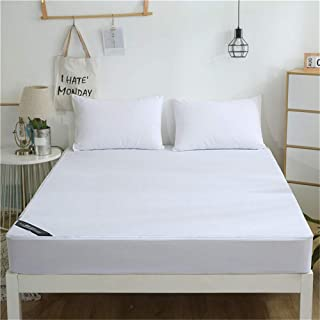 White Waterproof Breathless Cotton Mattress Cover, Bed Padded Mattress Protector Antibacterial Bed Cover,120 * 200 * 25CM