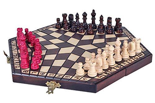KADAX Schachspiel für DREI Personen, Schach aus hochwertigem Holz, für Kinder, Anfänger, Erwachsene, Haus, Reise, Schachbrett mit Figuren, klappbare Schachkassette, tragbar (32 x 28 cm)