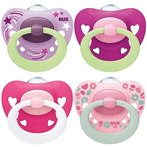 NUK chupetes para bebés noche y día | 6-18 meses | Chupetes que brillan en la oscuridad | Silicona sin BPA | Rosa | 4 unidades