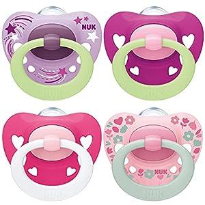 NUK chupetes para bebés noche y día   6-18 meses   Chupetes que brillan en la oscuridad   Silicona sin BPA   Rosa   4 unidades