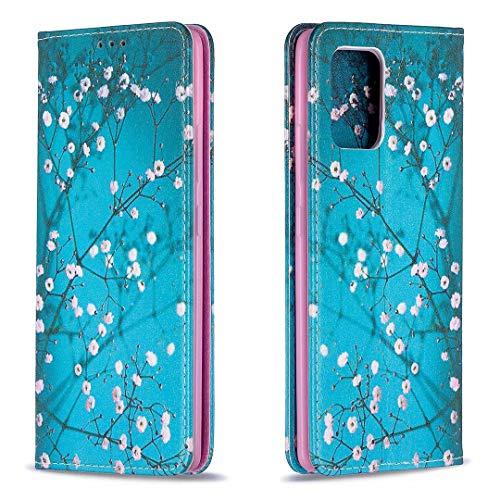 Miagon Brieftasche Hülle für Samsung Galaxy A41,Kreativ Gemalt Handytasche Case PU Leder Geldbörse mit Kartenfach Wallet Cover Klapphülle,Blau Blume