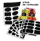 64 réutilisables (Reusable 8 Fiche pack) Premium Quality Noir décoratif adhésif Stickers-Pantry Storage Organizer, Mason Jar Chalk étiquettes, étiquettes de cadeau, Organisation classe - Ecrire peler et coller!
