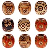 Keyzone Wholesale 100pcs 12mm Mixed Painted Drum Wood Spacer Beads Wooden Beads for DIY Jewelry Making Hair Accessories