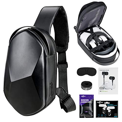 Oculus Quest 2 Case SARLAR Hard Chest Shoulder Backpack for Carrying Basic and Elite Version VR Gaming Headset and Touch Controllers Acessories, Bundled with In-Ear phones & Lens Protect Cover