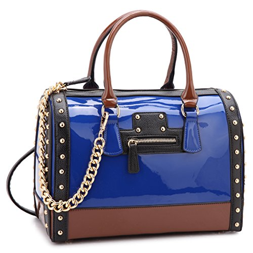 Shiny Patent Faux Leather Handbags Barrel Top Handle Satchel Bag Shoulder Bag for Women (7370 large size blue)