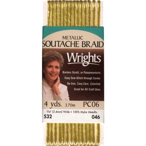 Wrights 117-532-046 Metallic Soutache Braid Trim, Gold, 4-Yard