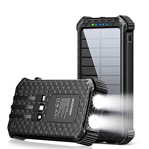 Solar Power Bank,Built-in Type-C&Micro&iOS 3 Cables Portable Quick Charger External Battery Pack 4 Output Dual Input, LED Flashlight&SOS,30000mAh Solar Charger