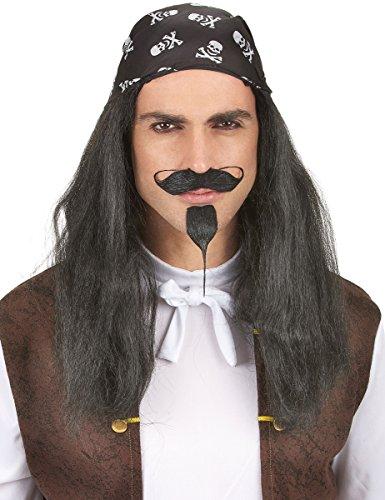 DEGUISE TOI - Perruque Pirate avec Bandana tête de Mort Adulte - Taille Unique