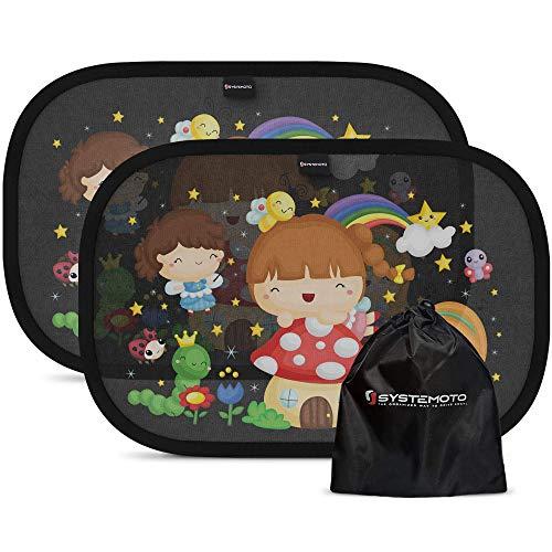 Systemoto Sonnenschutz Auto Baby mit Zertifiziertem UV Schutz (2er Set) - Selbsthaftende Sonnenblenden für Kinder mit süßen Tier Motiven (Märchen)