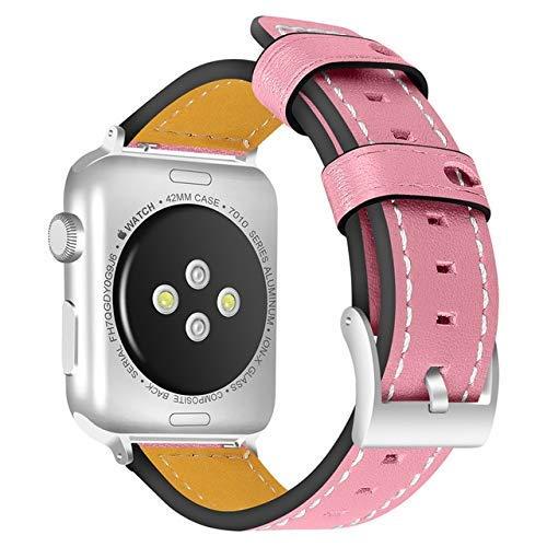 KTZAJO Correa de cuero para Apple Watch de 44 mm y 40 mm de repuesto para iWatch Series 5, 4, 3, 2, 1, pulseras de 42 mm, 38 mm (color rosa, tamaño: 38 mm o 40 mm)