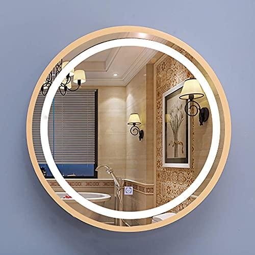 ZCZZ Armario con Espejo de baño Iluminado con Luces LED, Puerta Redonda, Armario con Espejo de baño, montado en la Pared, 3 Colores claros, Dorado/Negro