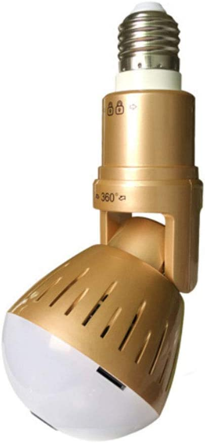 1080P Cámara de Bombilla Oculta Inalámbrica VR 360 Panorámica WiFi Bombilla Cámara IP Cámara de Interior Sistema de Vigilancia con Visión Nocturna Infrarrojos + luz Blanca