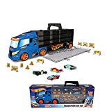 DSO ODS 42034 Hot Wheels Transporter 50, Maletín Bisarca con 4 Coches Originales, Azul