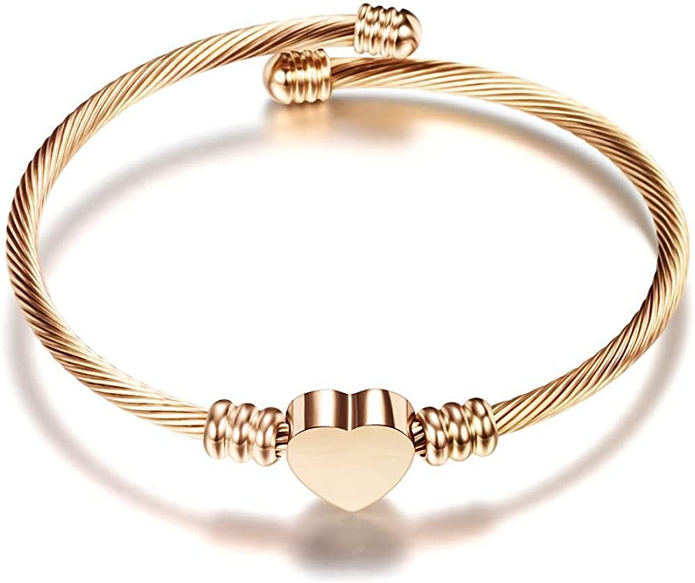 MIZORRI 18K Rose Gold Plated Stainless Steel Cable Wire Heart Charm Adjustable Bangle Bracelet For Women and Girls