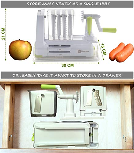 Product Image 8: Brieftons 7-Blade Spiralizer: Strongest-and-Heaviest Duty Vegetable Spiral Slicer, Best Veggie Pasta Spaghetti Maker for Low Carb/Paleo/Gluten-Free, With Container, Lid, Blade Caddy & 4 Recipe Ebooks