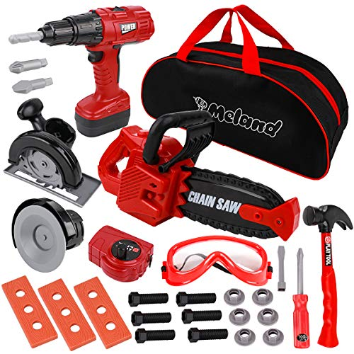 Meland Kids Tool Set 29Pcs Pretend Play Construction Toy Tools for Toddlers with Storage Bag, Electric Toy Chainsaw and Drill, Birthday for 3 4 5 6 Year Old Boys