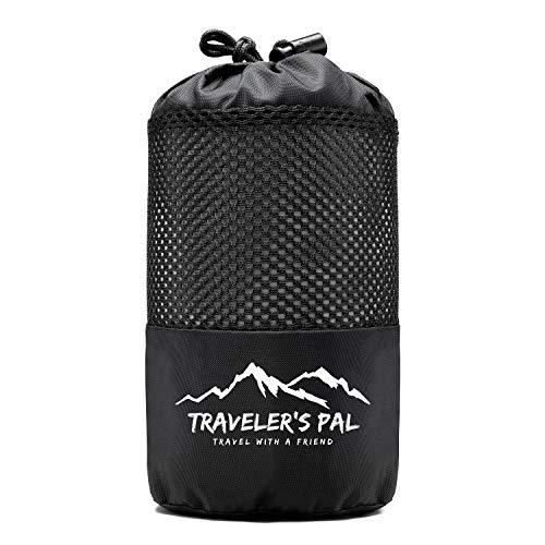 Traveler's Pal Hüttenschlafsack aus 100% Baumwolle - Schlafsack mit Reißverschluss an Seite und Fußende - Leichter und dünner Inlett Sommerschlafsack atmungsaktiv und hautfreundlich Silbergrau