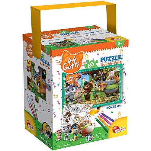 Liscianigiochi-44 Gatti Eyes Cats Puzzle in a Tub Mini, Multicolore, 60 Pezzi, 76604
