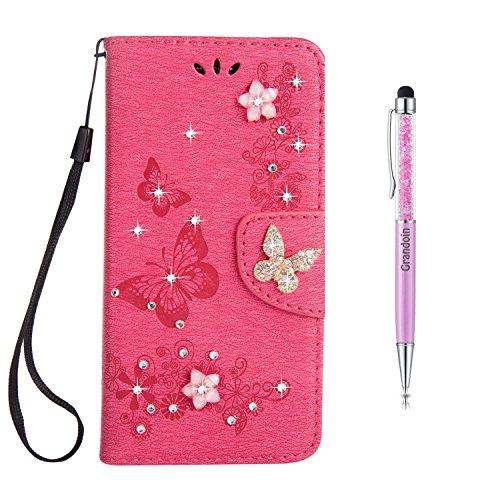 Galaxy S7 Hülle [Lebenslange Garantie],Grandoin Bling Glitzer Glitter Handyhülle im Brieftasche-Stil für Samsung Galaxy S7 Handytasche PU Leder Flip Cover Case Schutzhülle Etui Case (Rosa.2)
